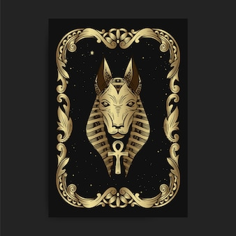The egyptian god seth or anubis, with engraving, handrawn, luxury, esoteric, boho style, fit for paranormal, tarot reader, astrologer or tattoo