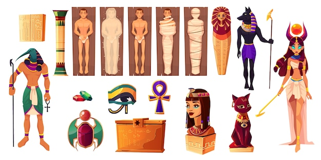 Egyptian gods thoth and hathor. ancient attributes of culture and religion set.