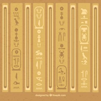 Egyptian hieroglyphics background with flat design