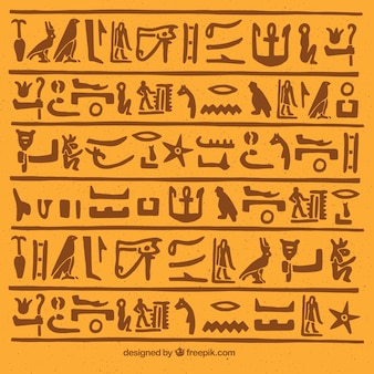 Egyptian hieroglyphics background with flat design