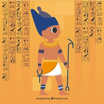 평면 디자인으로 이집트 상형 문자 배경