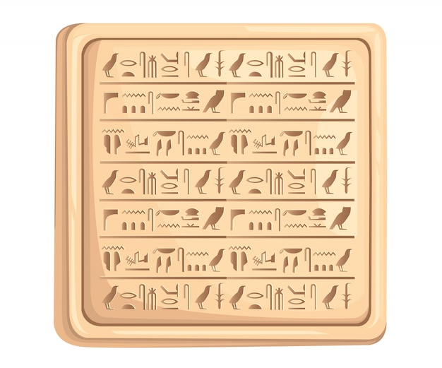 Egyptian hieroglyphics on stone plate ancient script  illustration on white background web site page and mobile app