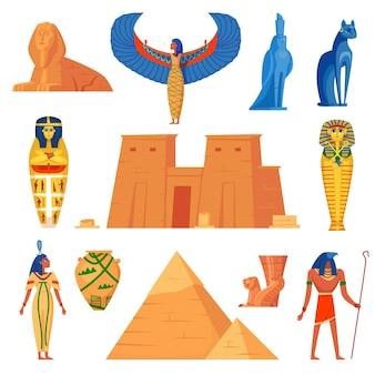 エジプトの歴史の文字セット。漫画イラスト