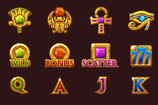 Египетские иконки для игровых автоматов казино с цветными драгоценными камнями. значки слотов на отдельных слоях.