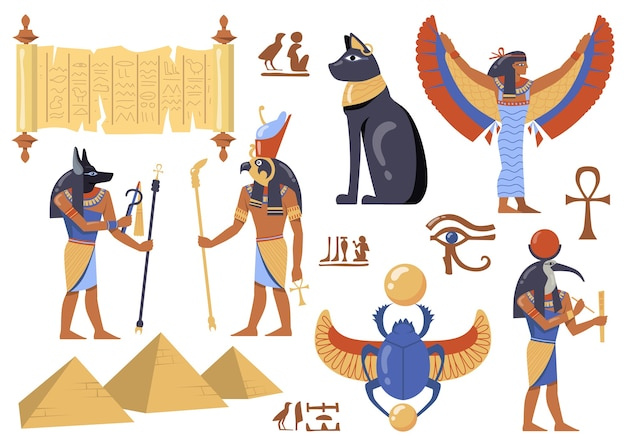 Набор персонажей египетской мифологии. символы древнего египта, кошка, ирис, папирус, божества с головами птиц и животных, жуткий скарабей, пирамиды.