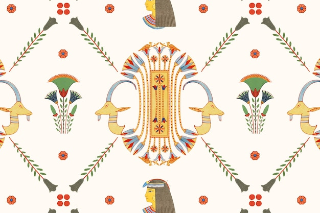 Egyptian ornamental seamless pattern