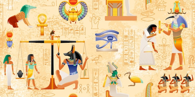 Египетский папирус с элементами фараона анх скарабей солнце древнее историческое искусство египет мифология из книги мертвых