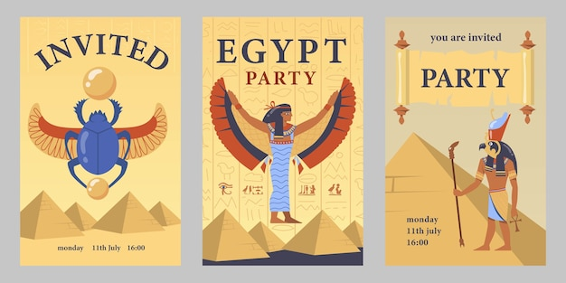 Egyptian party invitation card template set. egyptian pyramids, isis, scarab vector illustrations with time and date. templates for announcing poster or flyer