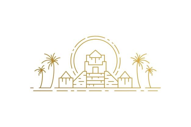 Египетские пирамиды и пальмы и силуэт солнца линейные векторные иллюстрации