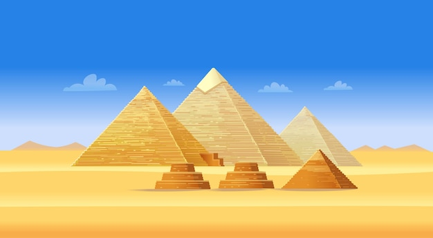 Egyptian pyramid complex in giza. famous african landmark, touristic center of cairo. illustration .