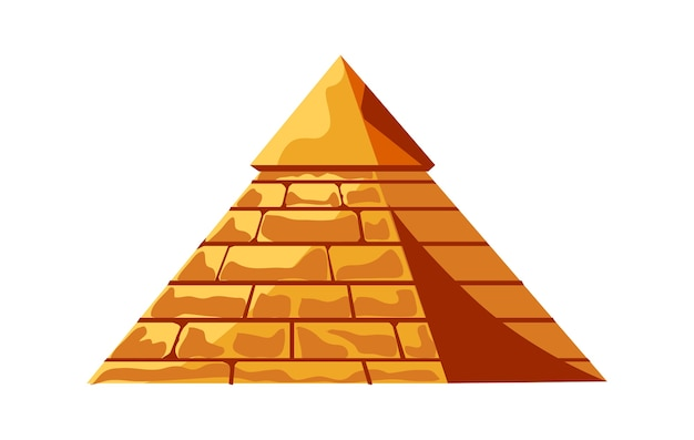 Egyptian pyramid from golden sand blocks, tomb of the pharaoh, cartoon vector illustration