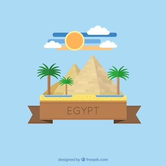Egyptian pyramid in flat design