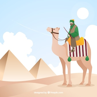 ラクダのキャラバンとエジプトのピラミッドの風景