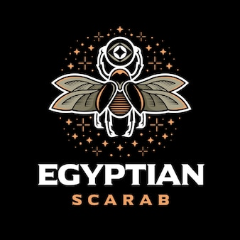 Egyptian scarab colorful logo