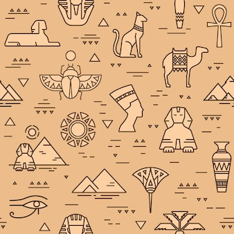Egyptian seamless pattern of symbols, landmarks, and signs of egypt