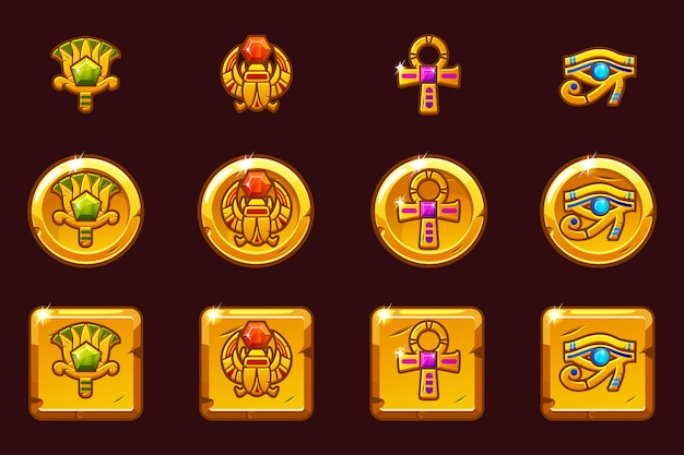 Egyptian symbols with colored precious gems. egypt golden icons in different versions