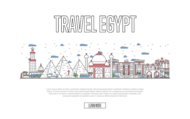 Egyptian tourism website in linear style