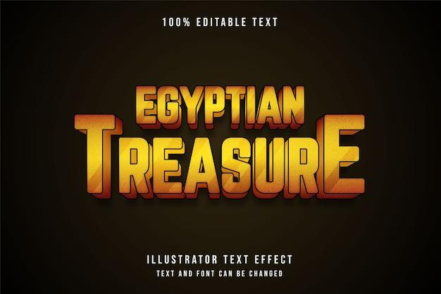이집트 보물, 3d 편집 가능한 텍스트 효과.