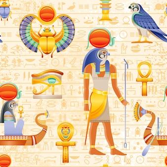 Египетский вектор бесшовные папирус шаблон. ра сокол солнца бог и фараон стихия - анкх, скарабей, глаз ваджет, лодка. древнее историческое искусство.