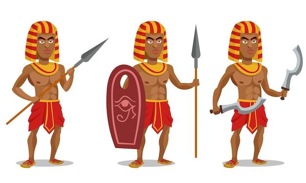 다른 포즈의 이집트 전사. 만화 스타일의 남성 캐릭터.