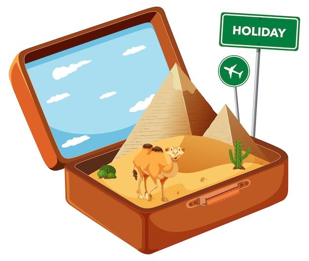 Egypy desert in suitcase