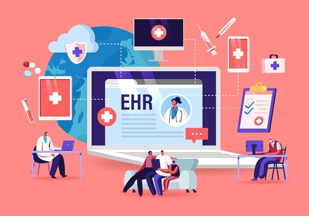 Ehr、電子健康記録。患者キャラクターはタブレットに医療データを挿入します。