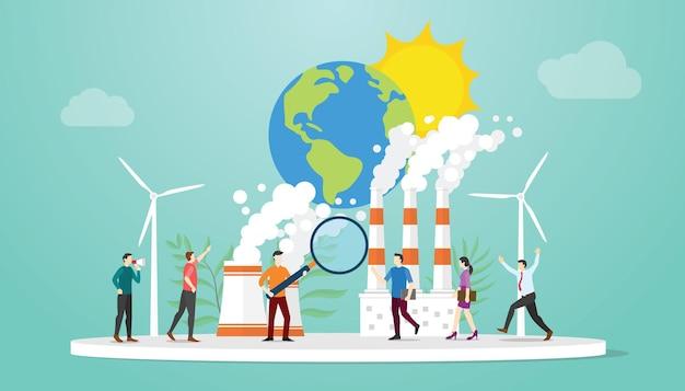 Концепция оценки воздействия на окружающую среду eia с людьми, анализирующими загрязнение данных на земле