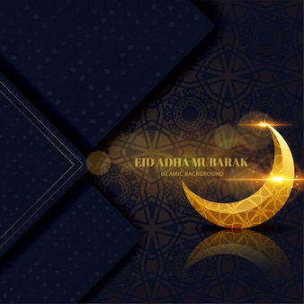 Eid adha mubarak greeting card black and gold with crescent islamic design