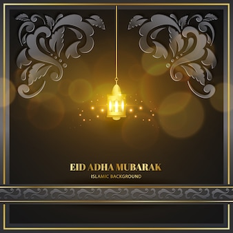 Eid adha mubarak greeting card black gold with lamp and texture floral pattern islamic design