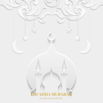 Eid adha mubarak greeting card white color with mosque and texture floral pattern islamic design