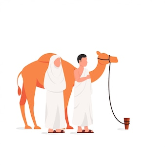 Eid adha mubarak and hajj illustration