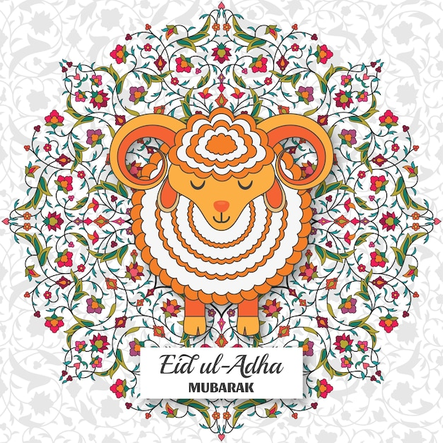 Eid al adha background arabesque floral pattern branches with flowers leaves and petals greeting car...