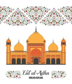 Eid al adha background islamic arabic mosque arabesque floral pattern branches with flowers leaves a...
