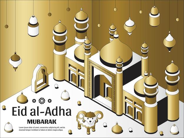 Eid al adha background isometric islamic arabic mosque lanterns and sheep greeting card festival of ...