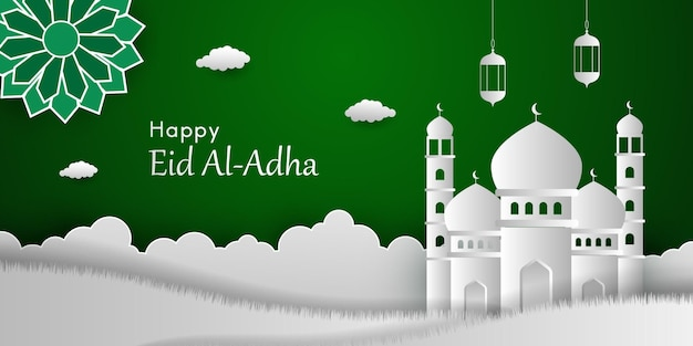 Eid al adha background in papercut style