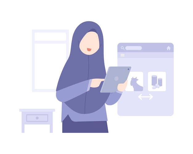 イスラム教徒の女性とイードアルアドハの背景がオンラインで食べ物を買う