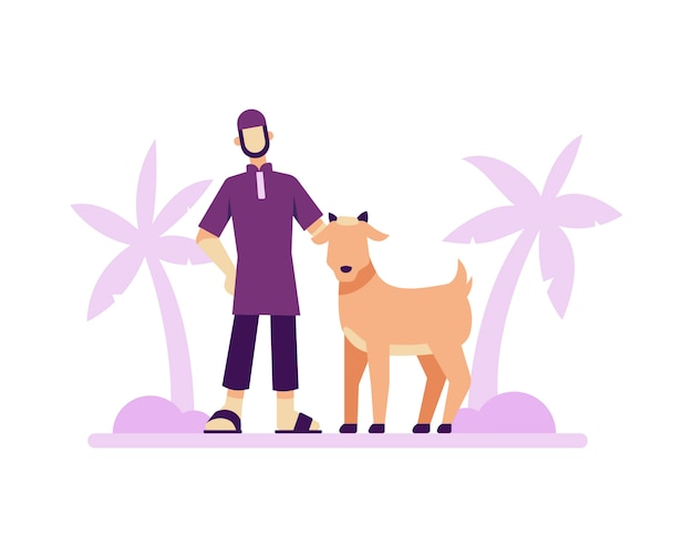 Eid al adha background with a muslim man and goat illustration