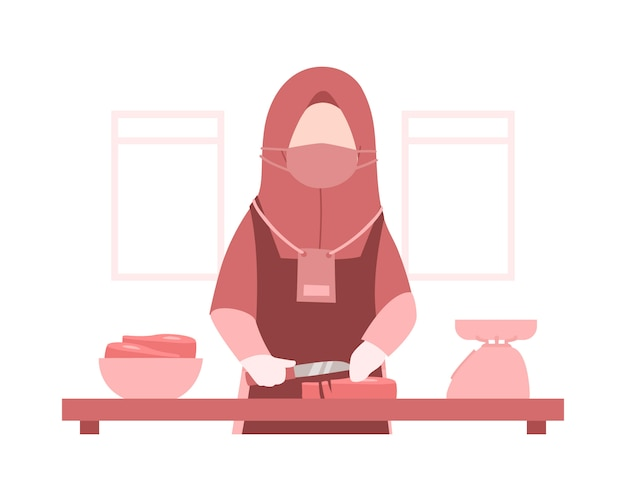 Eid al-adha background with a muslim woman wears a hijab and is cooking meat in the kitchen illustration