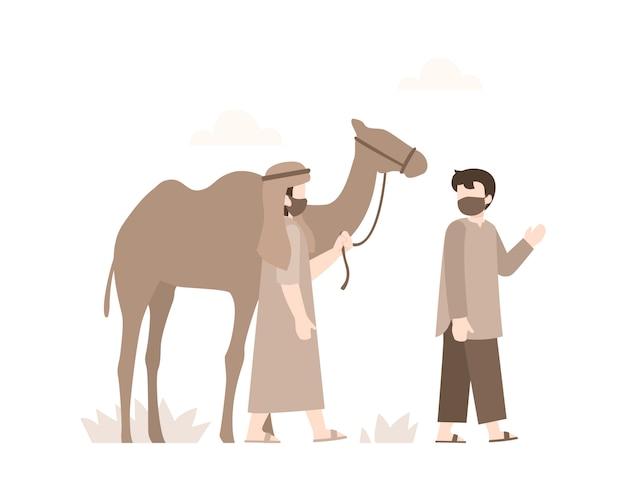 砂漠のイラストの真ん中で二人のアラブ人のイードアルアドハ背景がラクダと一緒に歩いていた