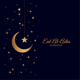 Eid al adha beautiful golden moon and star greeting