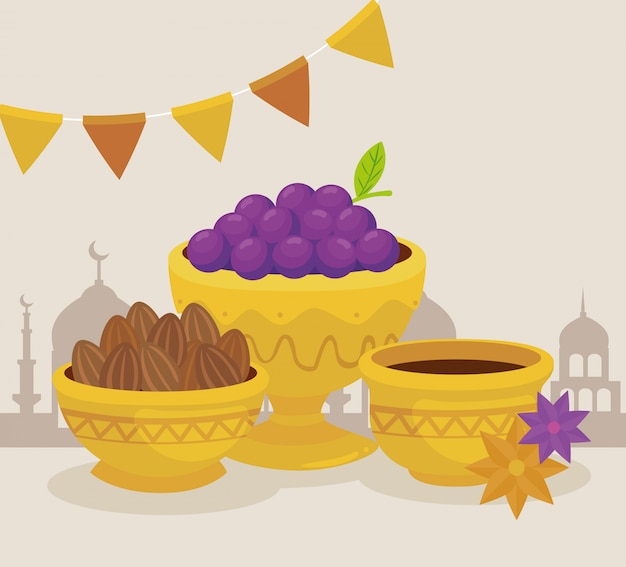 Eid al adha celebration card with fruits and food in golden bowls  illustration design