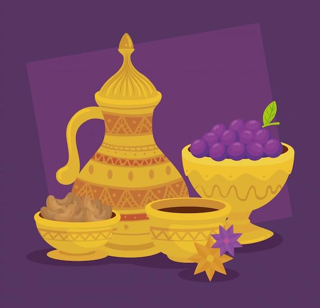 Eid al adha celebration card with set golden jar and grapes  illustration design