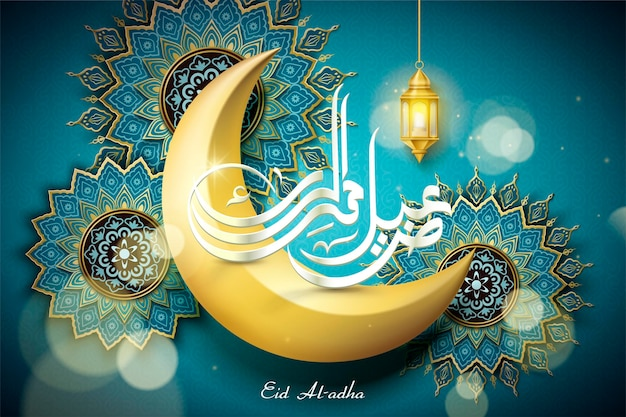 Eid al adha design with golden crescent and floral decorations on turquoise background