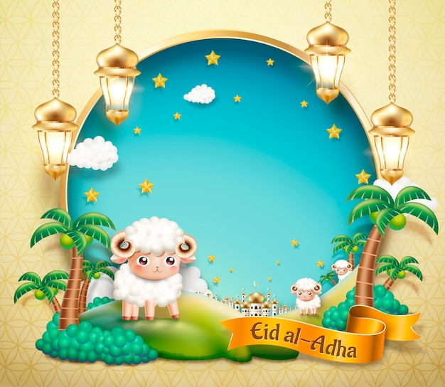 Дизайн ид аль адха с милыми овцами в оазисе