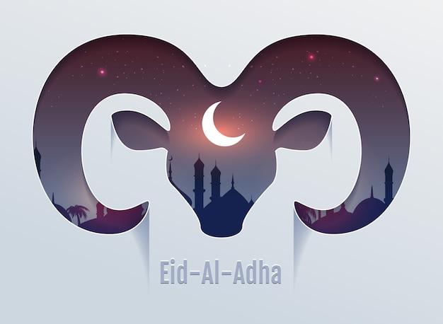 Ид аль адха праздник жертвоприношения. голова барана силуэт, минарет и луна в ночном небе