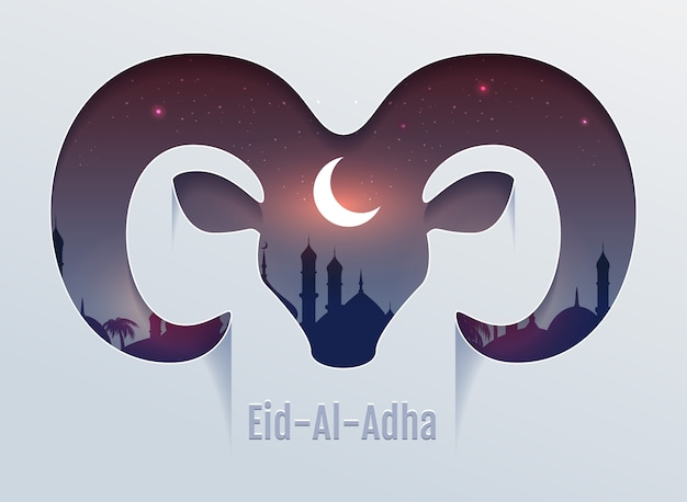 Eid al adha feast of sacrifice. head of ram silhouette, minaret and moon in night sky