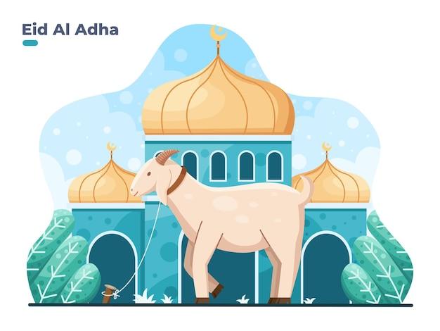 Eid al adha flat vector illustration with goat or sheep animal at front mosque selamat hari raya idul adha means happy eid aladha also called sacrifice festival