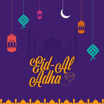 Eid-al-adha font with line art sheep, lanterns, crescent moon and ketupat hang on purple silhouette mosque background.