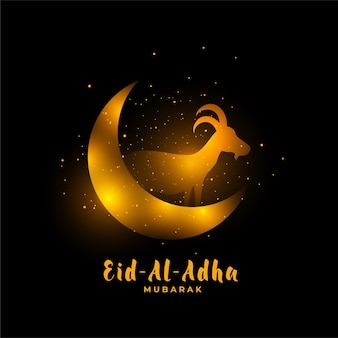 Eid al adha golden background with goat and moon