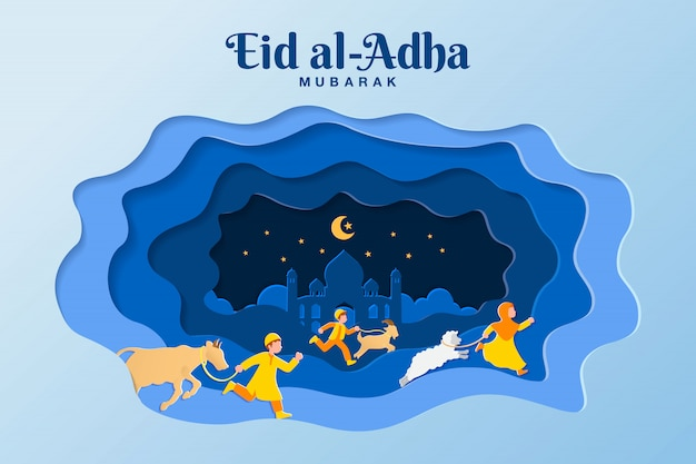 Eid al-adha greeting card concept illustration in paper cut style with kids bring goat, sheep, and cattle for sacrifice